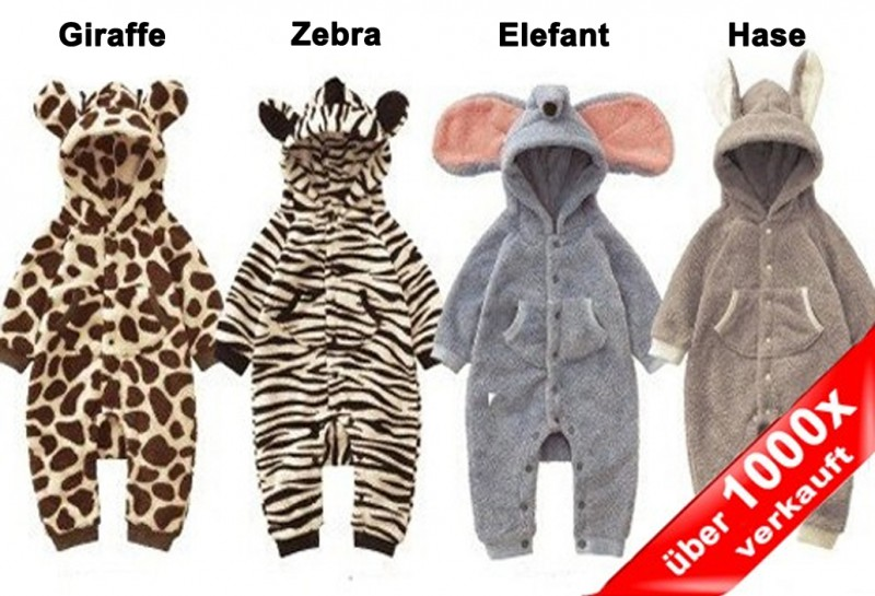 baby strampler kuschel tiere fleece babystrampler langarm giraffe zebra elefant hase. Black Bedroom Furniture Sets. Home Design Ideas